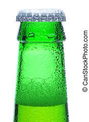 macro, tiro, de, cerveza verde, botella, cuello