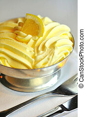 macro, tiro, limón, helado