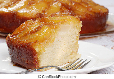 macro upside down pear cake