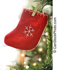 macro, versiering, details, witte kerst, rood