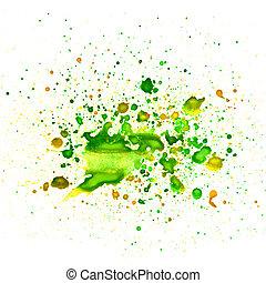macro, vert, goutte, texture, peinture