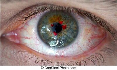 macro, video, di, occhio umano, con, cuore, segno