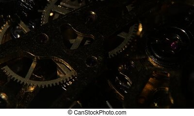 Macro video of an old pocket watch movement. Close up -...