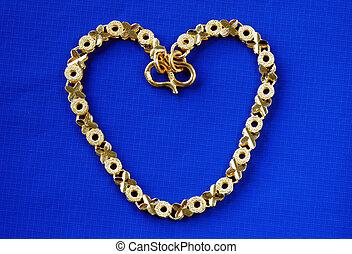 Macro view of a 24K gold bracelet