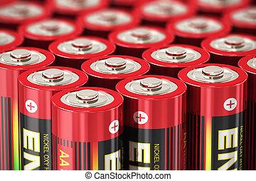 Macro view of AA batteries - Macro view of group of red AA...