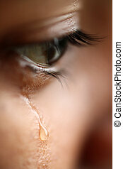 A macro view of an with tears showing sadness