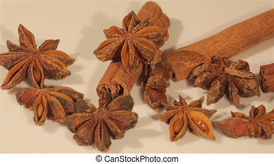 Macro view of cinnamon and anise