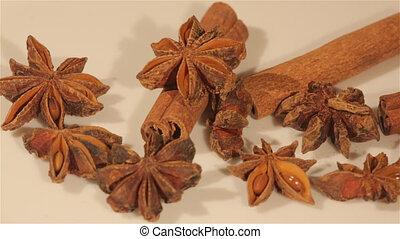 Macro view of cinnamon and anise