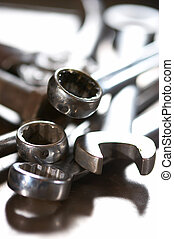 combination wrench - macro view of combination wrench in the...