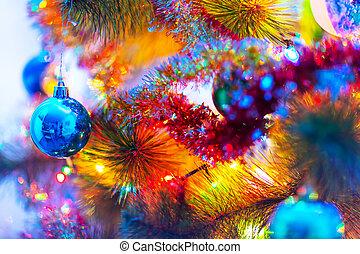 Macro view of decorated Christmas Tree