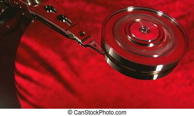 Macro view of hard disk head movements. - Macro view of hard...