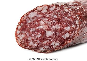 Macro view of Salami smoked sausage stick isolated