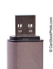 USB storage - Macro view of USB storage. Isolated on white...