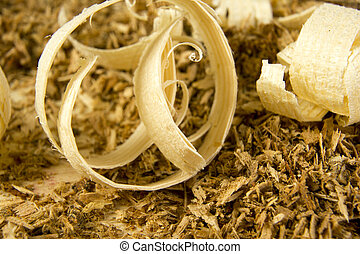 Macro view of wooden sawdust and logs