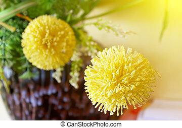 Macro view of yellow flower