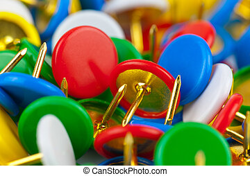 macro, vista, de, color, pushpins