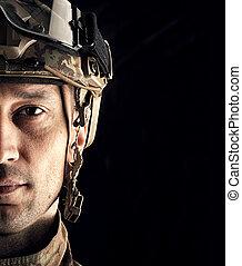 macro, vista, de, militar, hombre