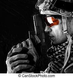 macro, vista, de, militar, homem, com, arma