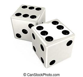 white dice - macro white dice on a white background