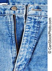 zipper on blue jeans
