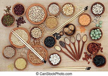 macrobiotic, voedingsmiddelen, sampler, gezonde