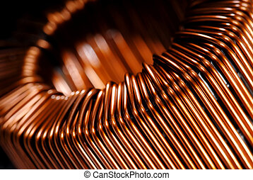 Macrodetail of a copper inductor in a transformer