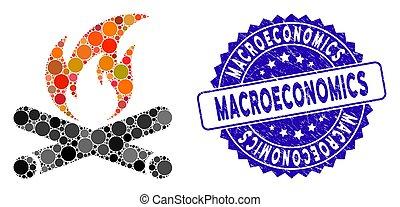 macroeconomics, icône, feu camp, timbre, mosaïque, textured
