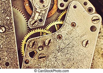 macro.toned, toestellen, image., mechanisme, klok