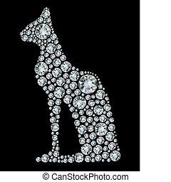 macska, fényes, gyémánt