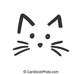 macska, ikon, arc, csinos