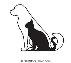 macska, kutya, fekete, fehér