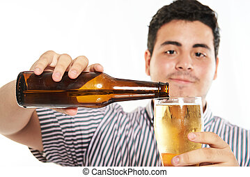 macto of pouring beer from bottle