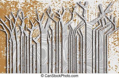 maculato, carta, albero, illustrazione, wave-like, gray-brown, struttura, 3d, fondo, tronchi