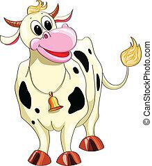 maculato, cartone animato, mucca