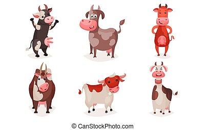 maculato, cows., set, cartone animato, vettore, illustration.