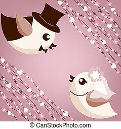 madár, esküvő