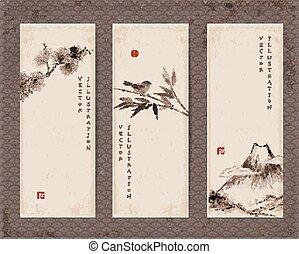 madár, fa, sóvárog, fuji, szalagcímek, bambusz