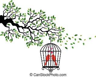 madár, karikatúra, árnykép, fa