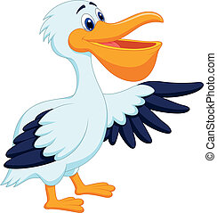 madár, karikatúra, pelikán, hullámzás