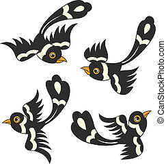 madár, karikatúra, tervezés