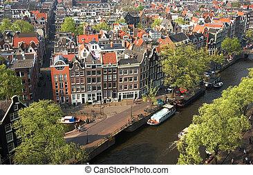 madár, kilátás, közül, amszterdam, a, németalföld