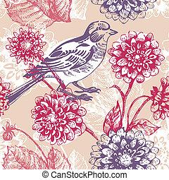 madár, motívum, seamless, virágos
