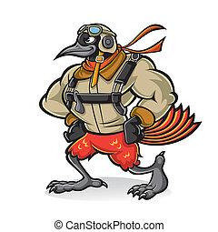 madár, sárgarigó, pilóta, karikatúra