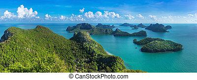 madár, szem, kilátás, közül, tenger, thaiföld, mu, kiütés,...