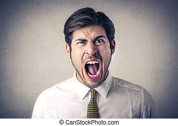 Mad businessman yelling inside