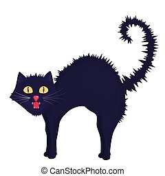 Mad cat icon. Vector illustration for Halloween