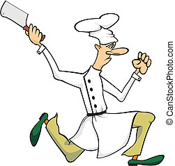 running chef with cleaver in hand