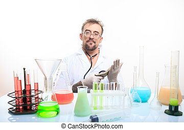 Mad chemist in the lab doing reaction