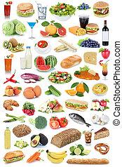mad drink, samling, baggrund, frugter, grønsager, frugt, drinks, isoleret