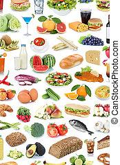 mad drink, samling, baggrund, frugter, grønsager, sunde, drinks, isoleret